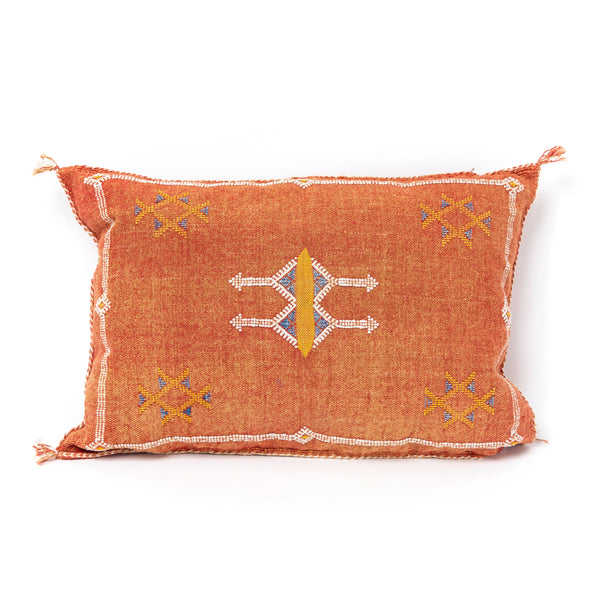 Rust Red Cactus Silk Lumbar Pillow