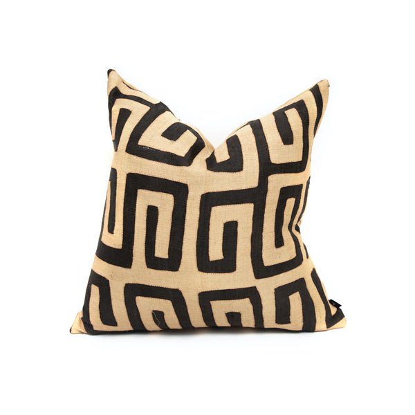 Flat Weave Kuba Cloth Custom Square Pillow