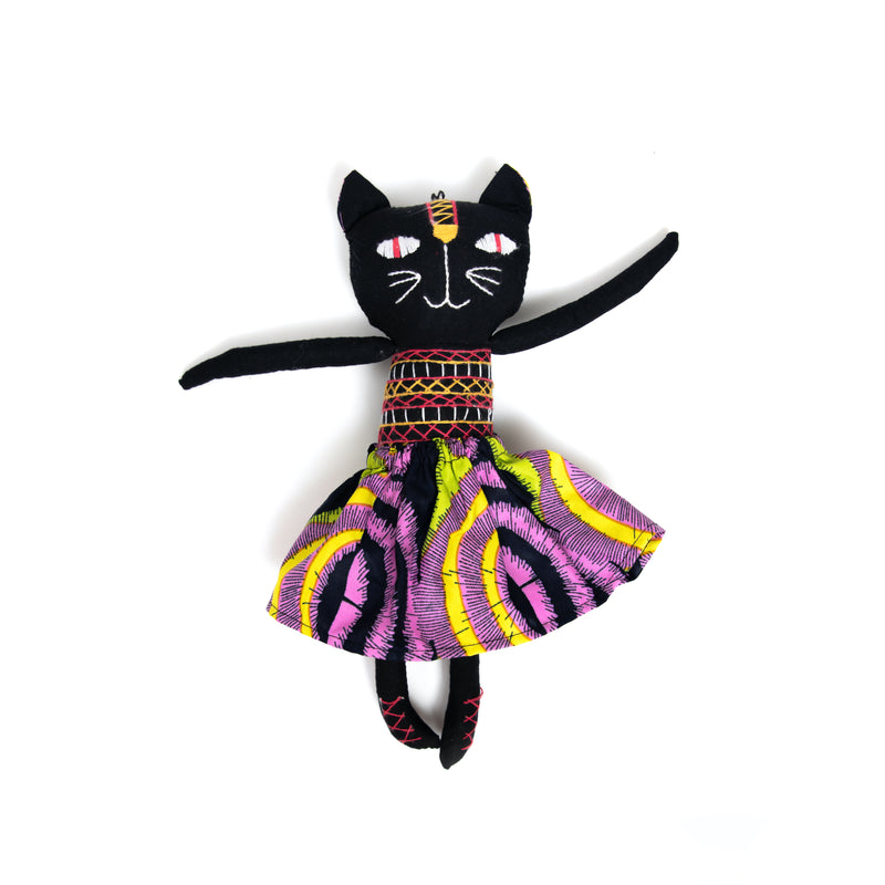 Purple and Lime Stuffed Tribal Cat