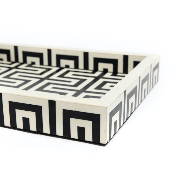 Black & White Resin Decorative Tray
