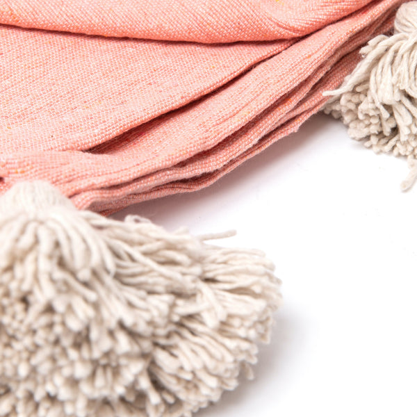Pink Moroccan Pom Pom Throw