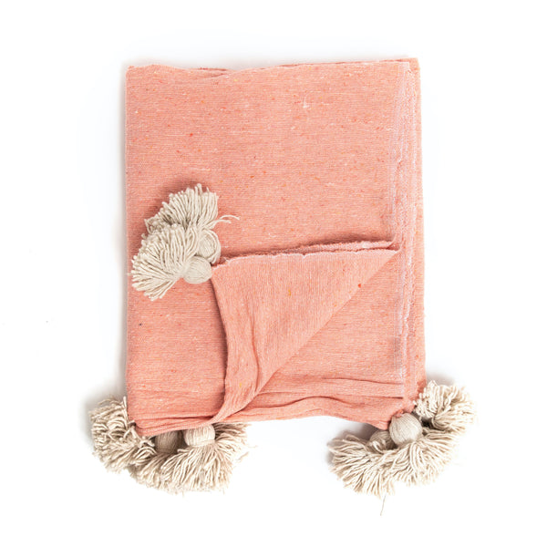 Pink Moroccan Tassel Throw