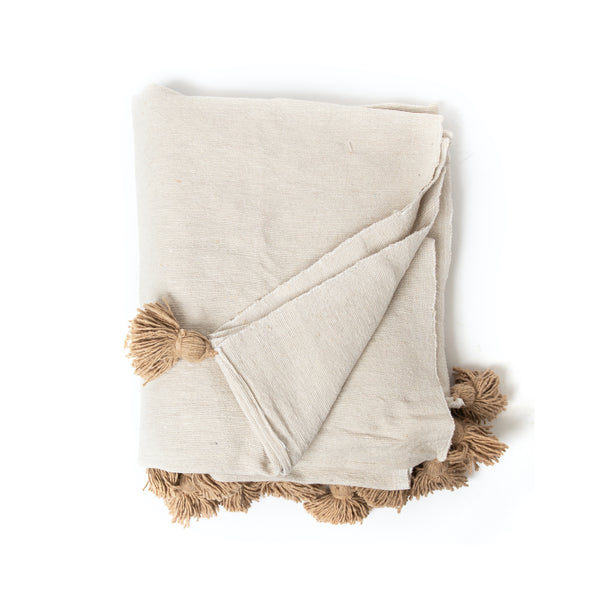 Tan Moroccan Tassel Throw