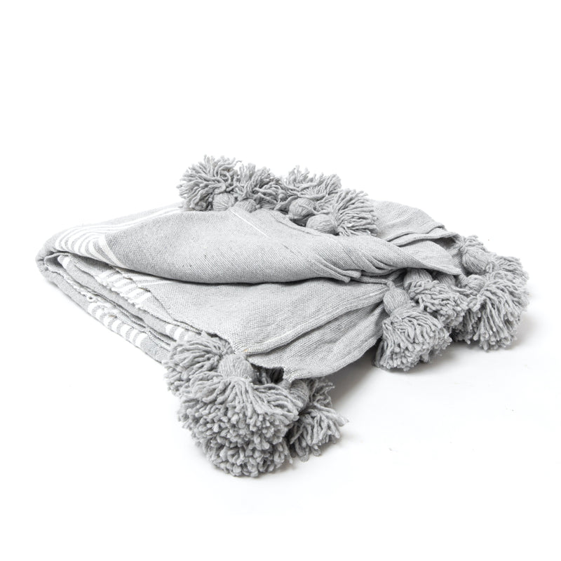 Grey Moroccan Tassel Throw