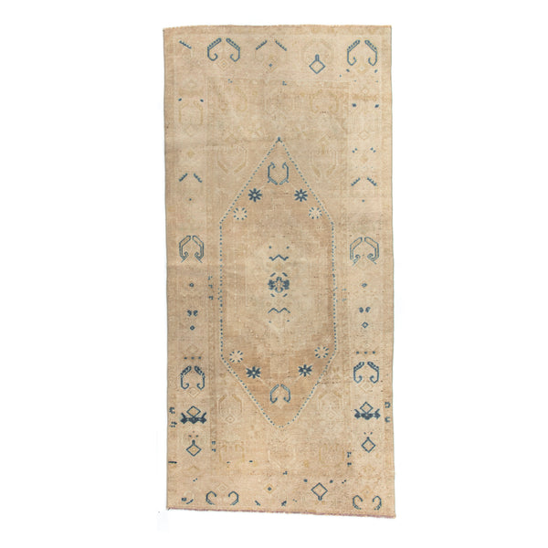 "3'7"" x 7'8"" Pale Pink & Royal Accent Vintage Area Rug"