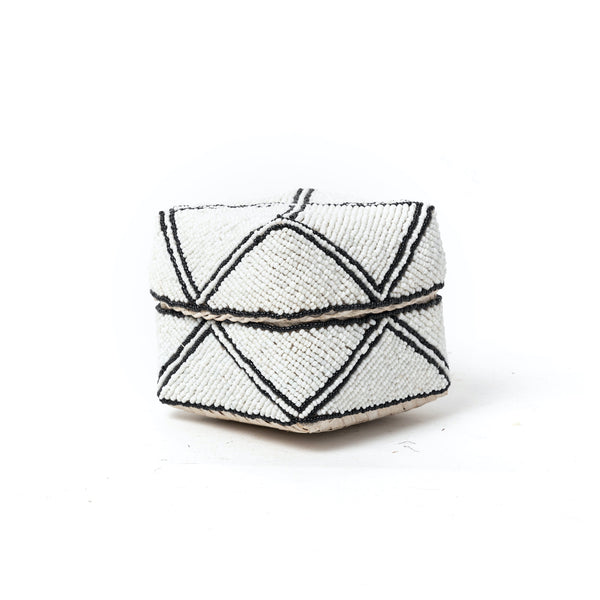 White Modern Beaded Box
