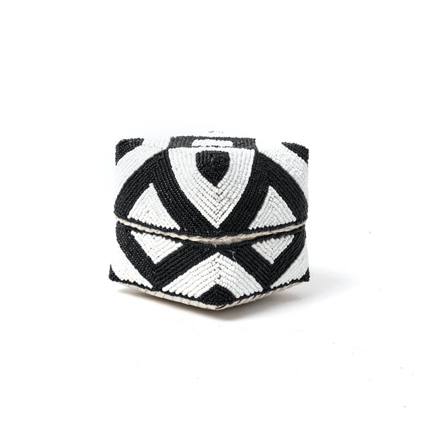 Black & White Diamond Beaded Box