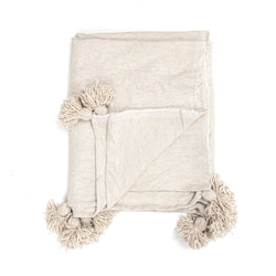 Cream Pom Throw