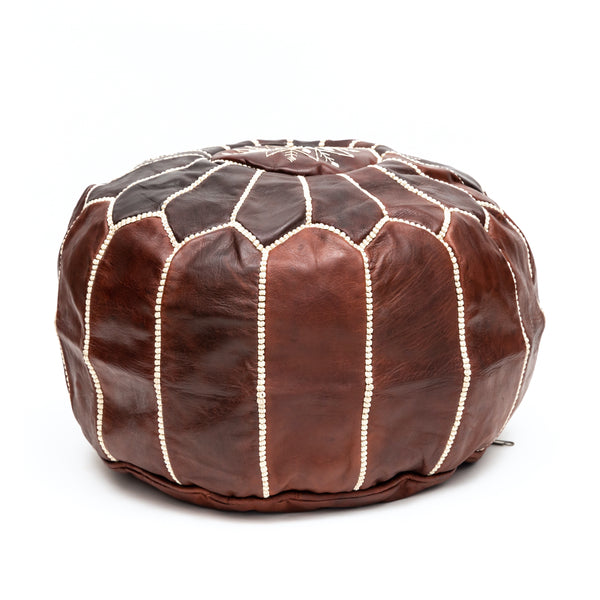 Round Dark Brown Leather Pouf