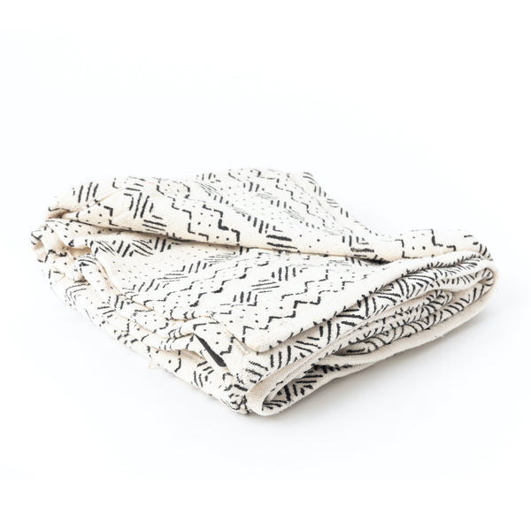 White Mud Cloth Throw