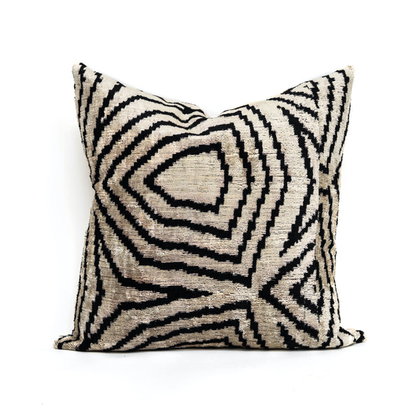 Vista White Velvet/Silk Square Pillow