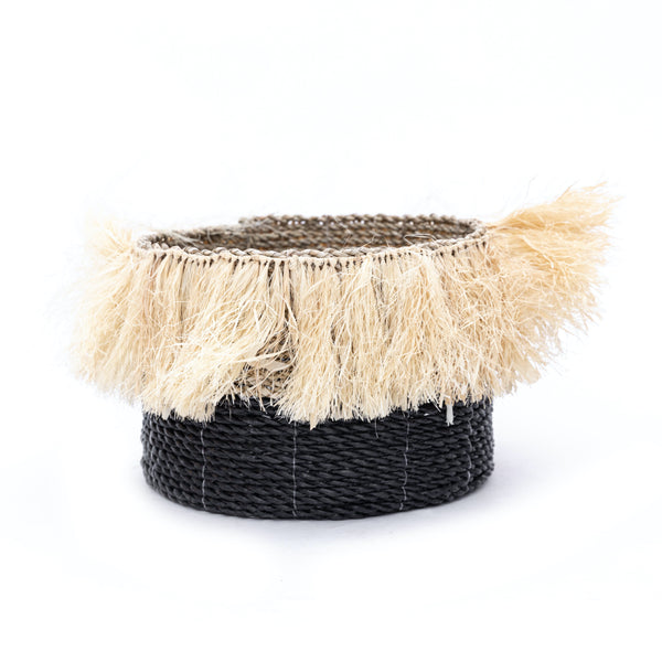 Black Fringe Rope Basket