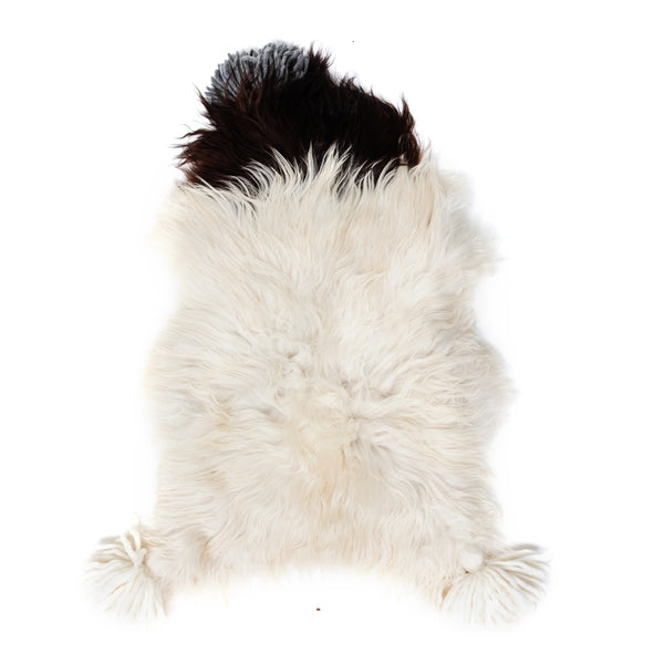 Black & White Benelux Sheepskin with Tassels