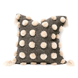 Grey & Cream Pom Pom Square Pillow
