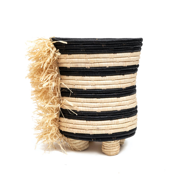 Small Raffia Tapered Planter with Fringe
