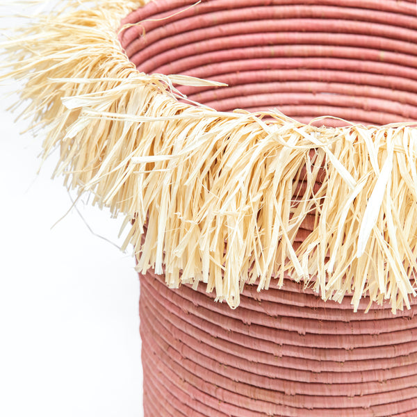 Medium Raffia Tapered Planter with Fringe