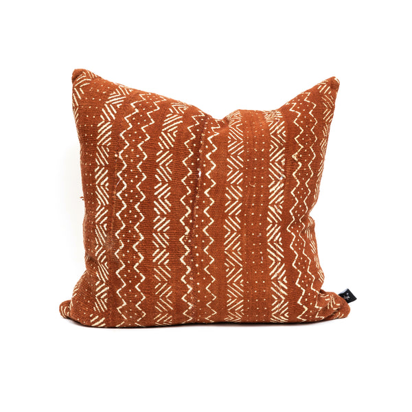 Rust Square Mud Cloth Pillow