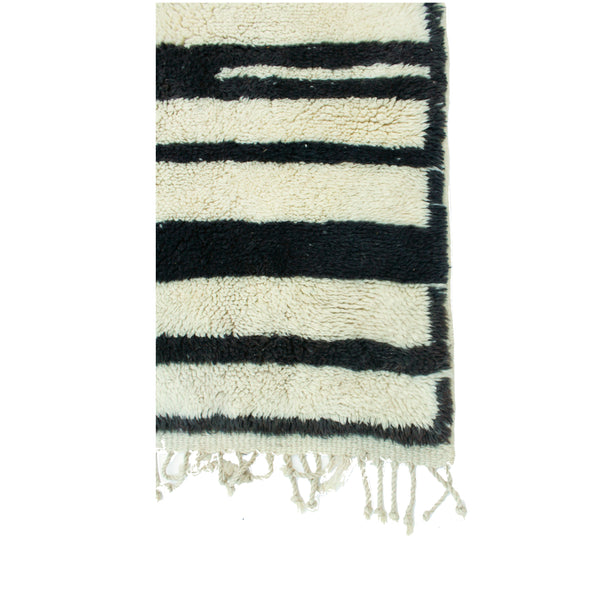 "5'4"" x 9'6"" Black & White Intersecting Stripes Area Rug"