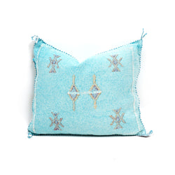Aqua Cactus Silk Square Pillow