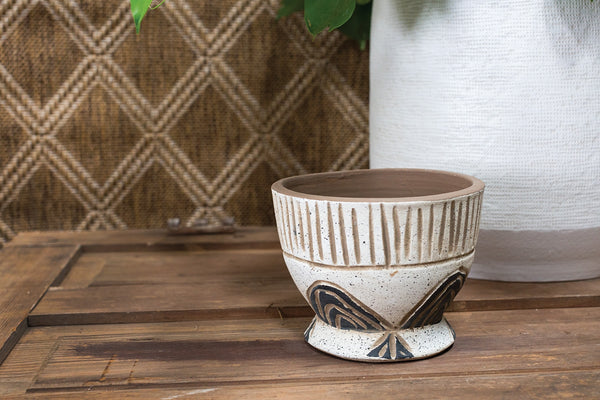 Small Etched Geometric Compote