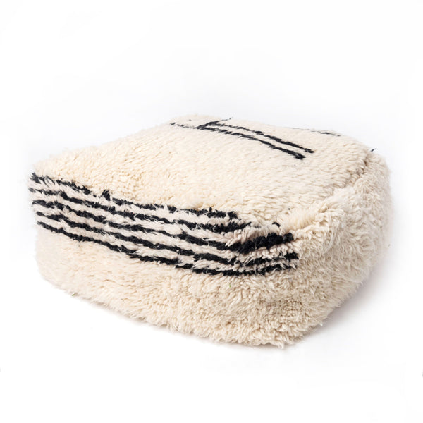 B/W Antique Berber Pouf Insert