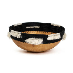 Wooden Black Fringed Bowl