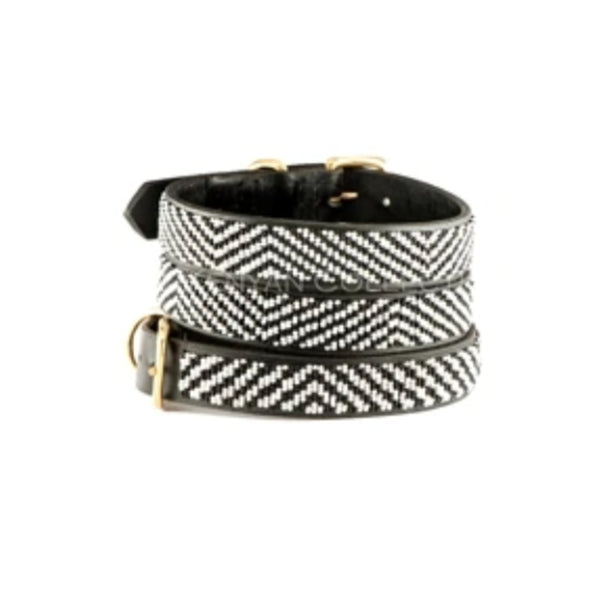 B/W Striped Beaded Dog Collar