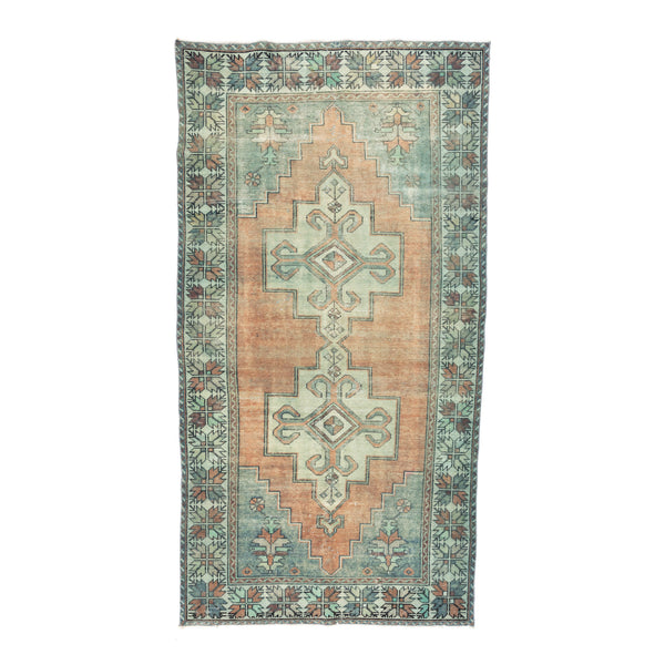 "4'2.5"" x 8'3"" Faded Orange & Teal Vintage Turkish Rug"