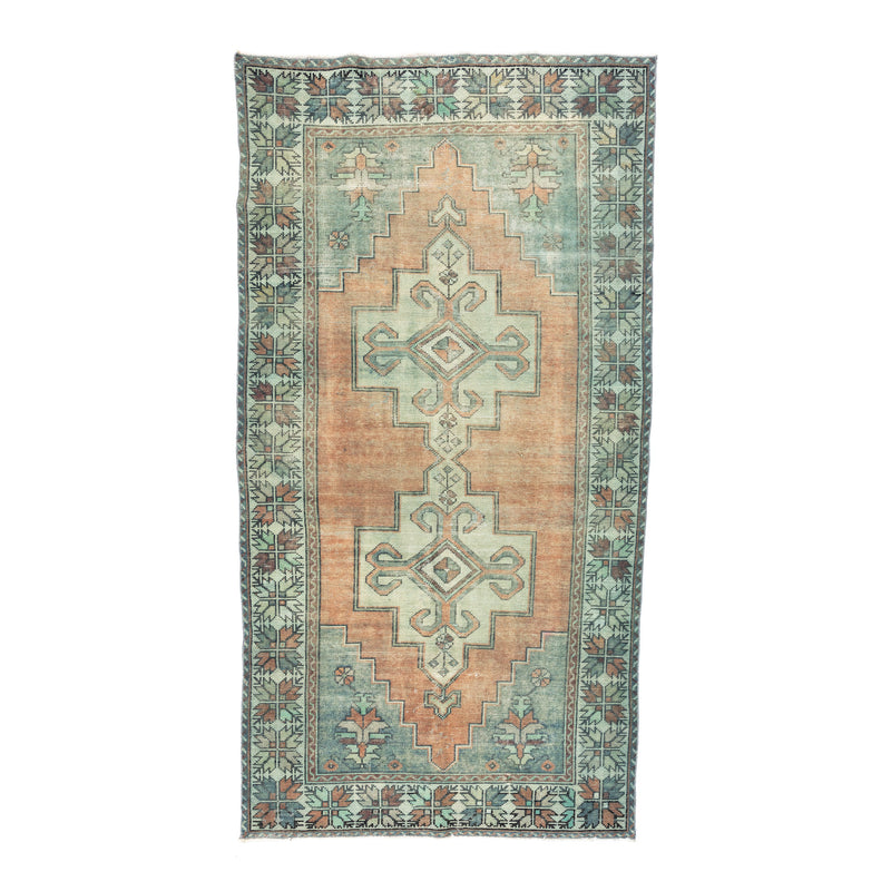 "4'2.5"" x 8'3"" Faded Orange & Teal Vintage Turkish Area Rug"