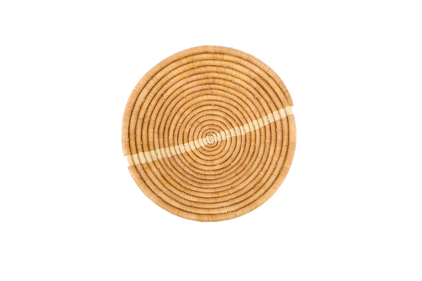 Tan Striped Round Basket