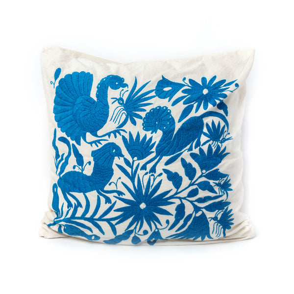 Blue Hand Woven Square Pillow