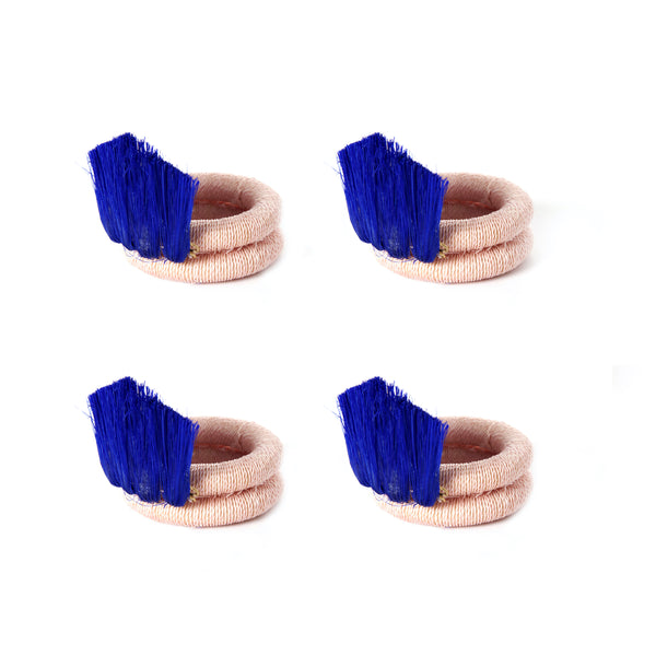 Blush & Cobalt Fan Napkin Rings - Set of 4