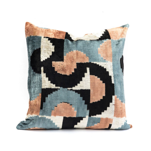 Abstract Blue & Peach Velvet/Silk Square Pillow
