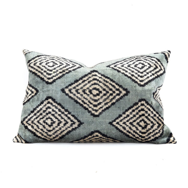 Zebra Diamond Velvet/Silk Lumbar Pillow