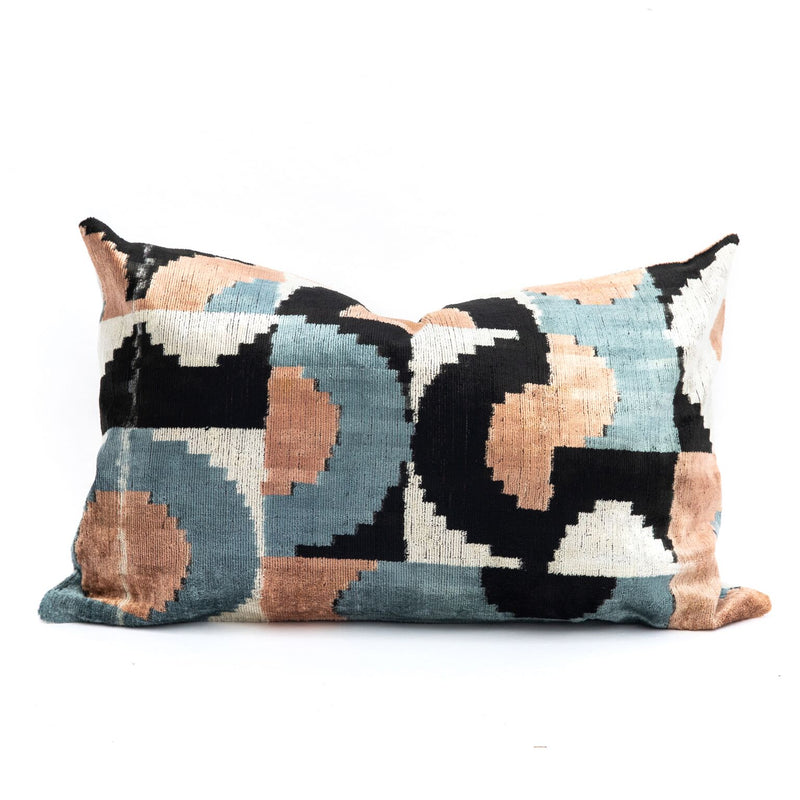 Abstract Blue & Peach Velvet/Silk Lumbar Pillow