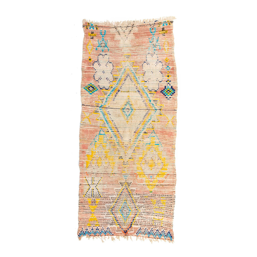Vintage Pink, Yellow & Blue Moroccan Rug