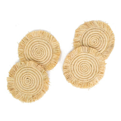 Natural Fringed Coasters - Set of 4