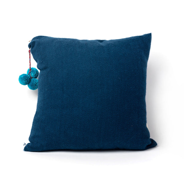 Navy Blue Pom Pillow