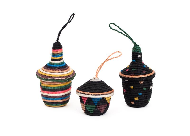 Black & Neon Basket Ornament