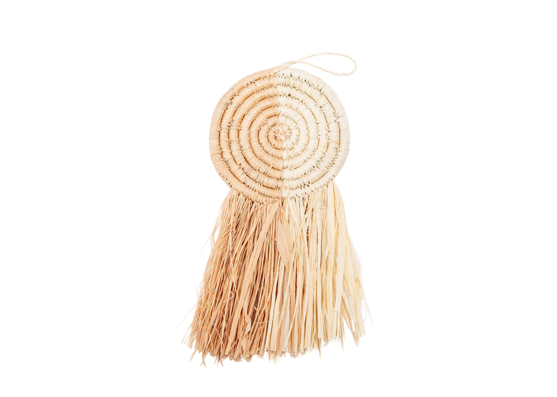 Peach Fringed Disc Ornament
