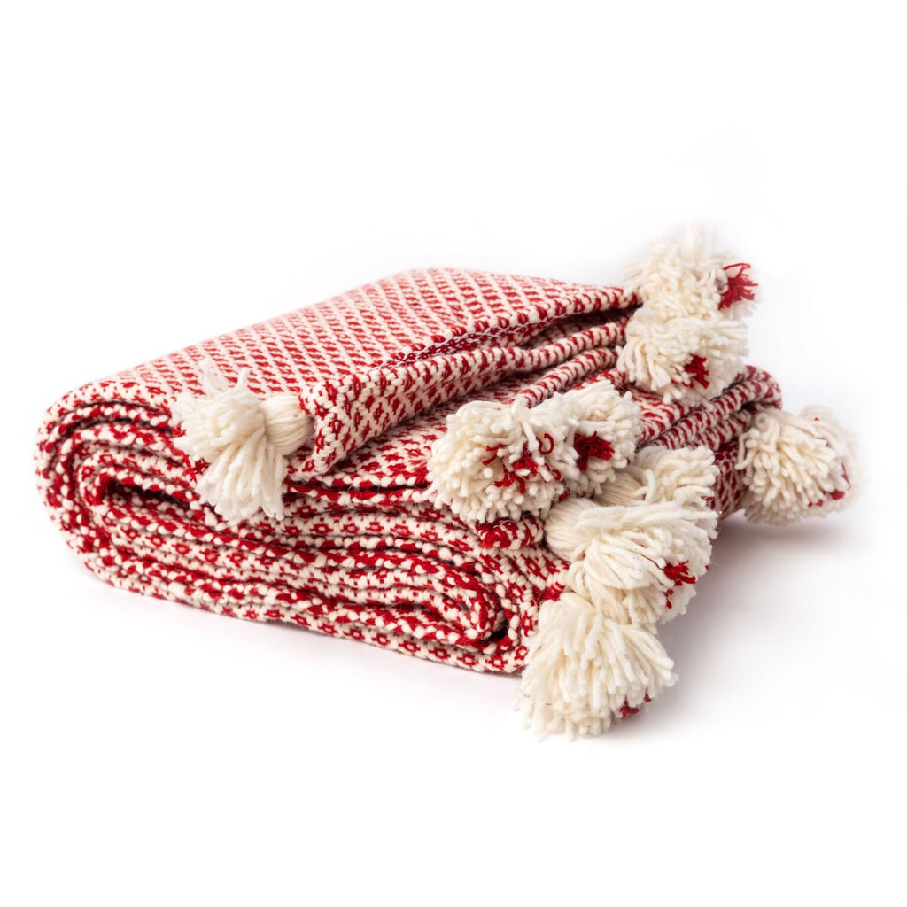 Red and White Moroccan Blanket