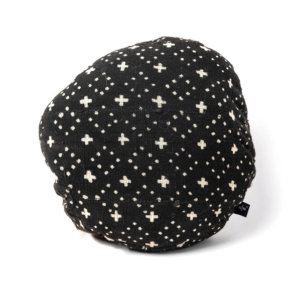 Round Black and White Mud Cloth Pillow