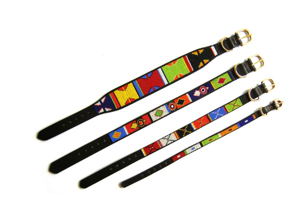 Vibrant Primary Beaded Dog Collar