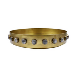 Brass Resin Round Decorative Tray