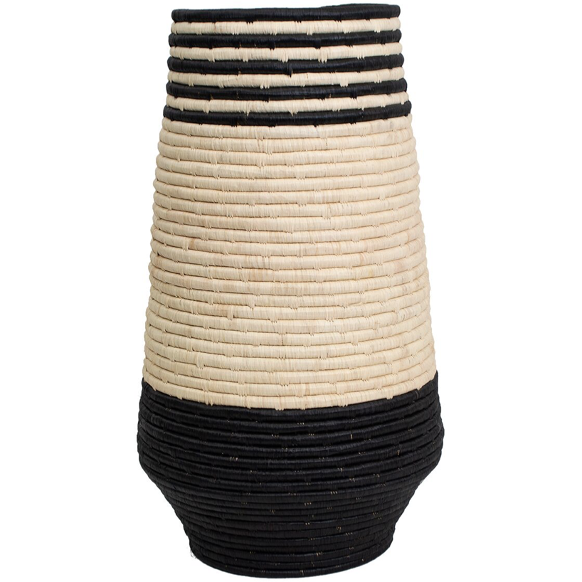 Black and Tan Stripe Floor Vase