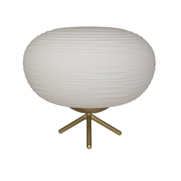 Round Antiqued Brass Table Lamp