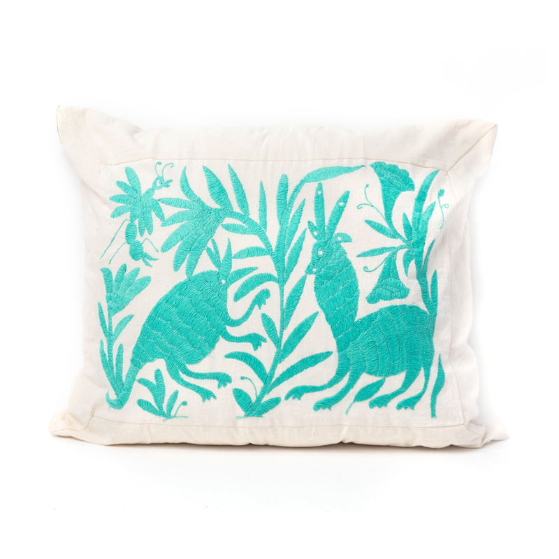 Teal Hand Woven Square Pillow