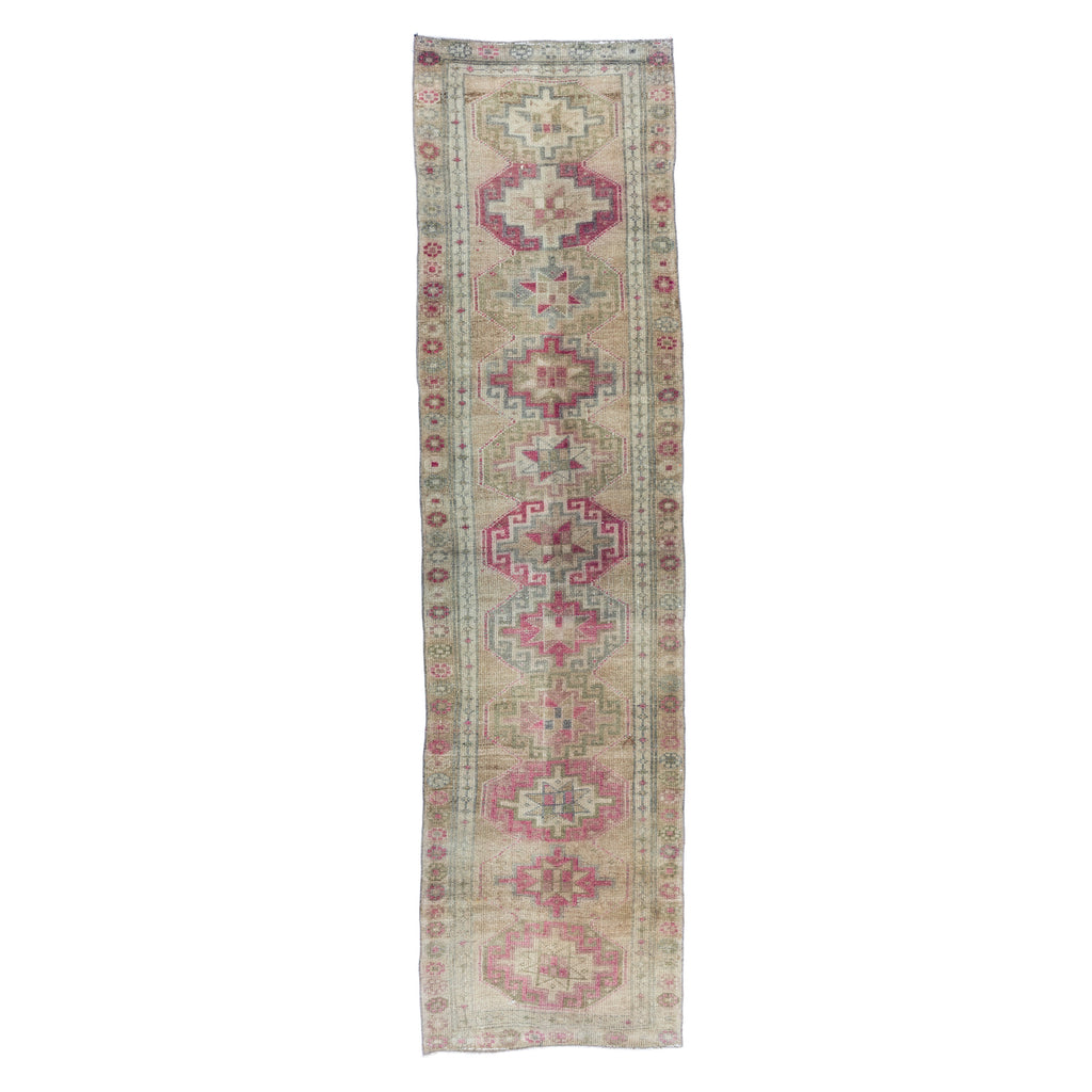 Washed Sage and Blush Vintage Turkish Runner