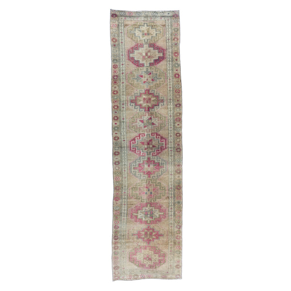 "2'11"" x 11'5"" Washed Sage and Blush Vintage Runner"