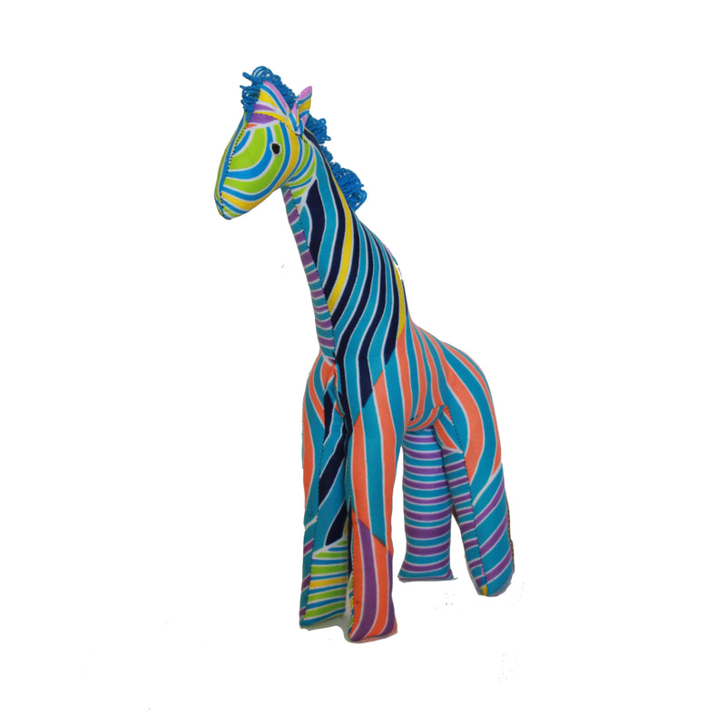 Vibrant Blue & Orange Wave Stuffed Giraffe